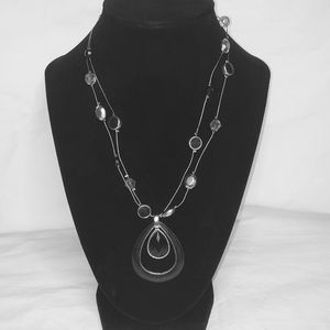 NY&C onyx and blue goldstone tear drop necklace